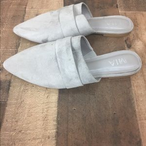 Mia gray suede leather mules